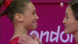 Kyla Ross choked up after completing her beam routine at the London 2012 Olympics