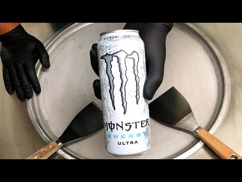 Monster Ice Cream Rolls | how to make Ultra Monster Energy Ice Cream - Recipe for rolled Ice Cream