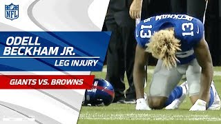 Odell Beckham Jr. Suffers Leg Injury | Giants vs. Browns (Preseason) | NFL