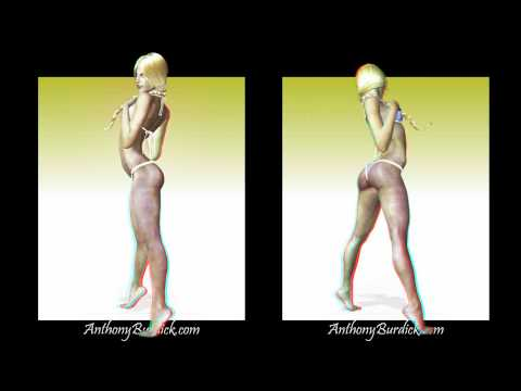 3D Anaglyph Blonde Bikini Girl Poser Stereoscopic