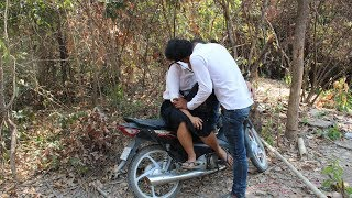 A beautiful two woman rides her Motorcycle to the forest and they court her - New comedy