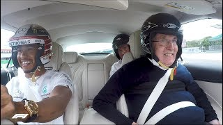 Lewis Takes Sir Frank Williams for a Silverstone Hot Lap