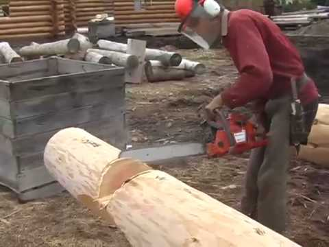 Corner Notch Cutting And Brushing For Log Cabin