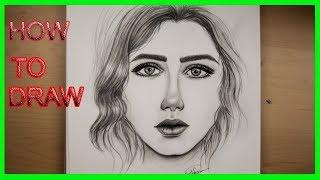 تعليم الرسم للمبتدئين - كيفية رسم وجه بنت خطوة بخطوة     -