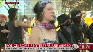 Portland right-wing rally sees heavy police presence
