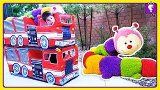 GIANT CATERPILLAR Adventure! Stacked Trucks and Pretend Play by HobbyKids