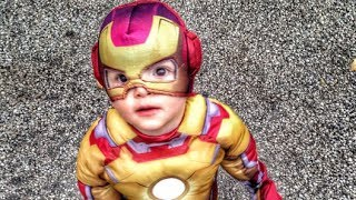 Baby's First Trick or Treat! ADORABLE Iron Man!