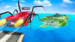 Jumping SUPERHERO CARS Across ENTIRE MAP In GTA 5.. (Mods)