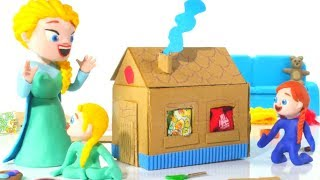 FROZEN ELSA & ANNA BUILD A TOY HOUSE ❤ Spiderman, Hulk & Frozen Play Doh Cartoons For Kids