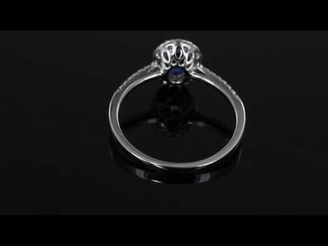 Browns Family Jewellers Sapphire and Diamond Halo Ring