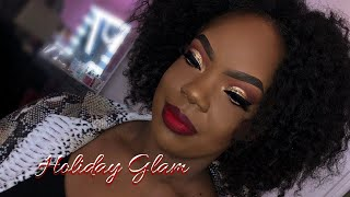 HOW TO : EASY GOLD GLITTER CUT CREASE | Hooded Eyes | Classic Holiday Glam 2018