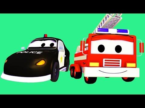 마을 순찰차, 작은 핑크 자동차 그리고 불도저  | 어린이를 위한 자동차 만화