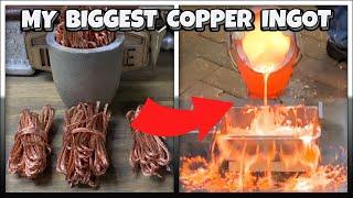 Giant Ingot - My Biggest Ever Copper Ingot! - Home Made Furnace - Bullion - Molten Metal Melting