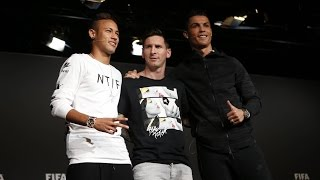 #BallondOr2015 - Messi and Neymar's press conference before the gala