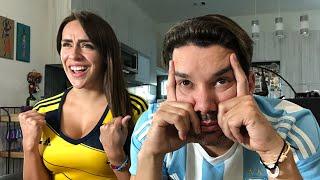 [Colombia 2 - Argentina 0] SUFRIMIENTO de un hincha argentino y EMOCIÓN de una colombiana.