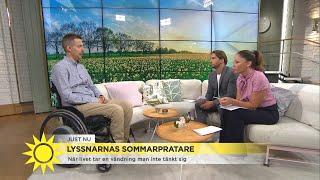 Jonas bröt nacken på sin svensexa – nu blir han lyssnarnas sommarpratare  - Nyhetsmorgon (TV4)