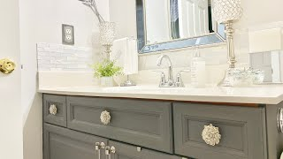 BATHROOM COUNTERTOP DECORATING IDEAS|GUEST BATHROOM DECORATE WITH ME