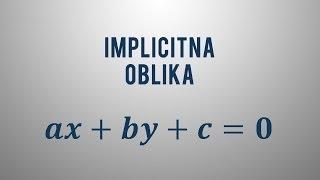 Implicitna enačba premice
