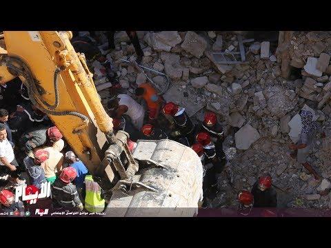 لحظة إخراج جثة إحدى ضحايا فاجعة بالمحج الملكي الدار البيضاء
