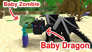 Monster School : Baby Dragon and Baby Zombie - Sad Story - Minecraft Animation