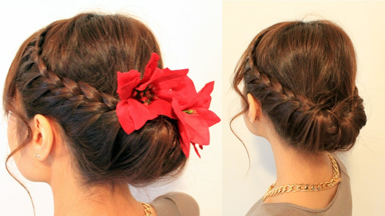 Updo Hair Style: Holiday Braided Updo Hairstyle For Medium Long Hair