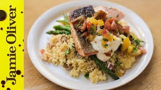 Pan-Fried Salmon with Tomato Couscous | Jamie Oliver