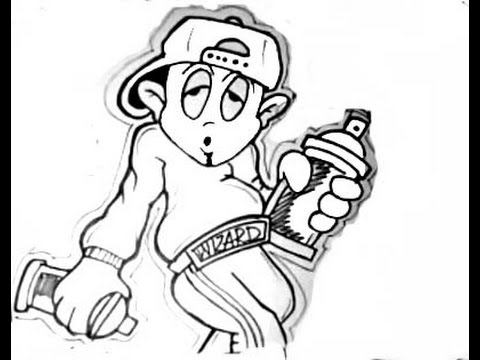How To Draw A Simple Graffiti Character--BY WIZARD - YouTube  How To Draw A S...