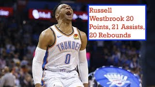 Russell Westbrook goes for 20 points, 21 assists, 20 rebounds vs Lakers