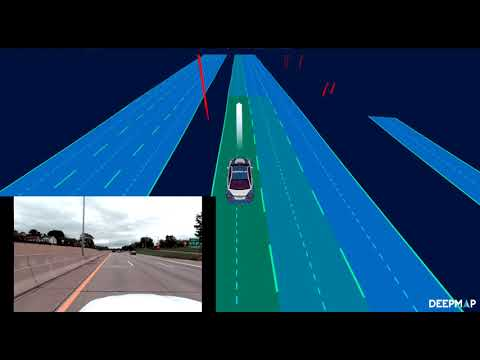 RoadMemory demo of a highway map, with lane boundaries, driving lines, lane connectivity, signs, and poles. Can be used for landmark-based localization, and navigation and control.
