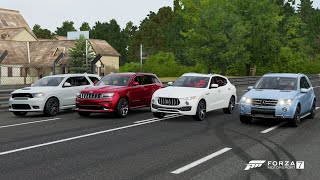 Forza 7 Drag race: Dodge Durango SRT vs Jeep Grand Cherokee SRT vs Mercedes ML63 AMG vs Levante S