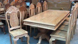 Lô bàn ăn gỗ gõ đỏ 8 ghế đẹp đẳng cấp giá bình dân /Đồ Gỗ Xuân Bắc