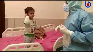 15-month-old Covid-19 kid blows kisses to nurses in Chandi..