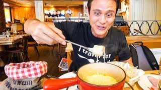 Swiss Food Tour - CHEESE FONDUE and Jumbo Cordon Bleu in Zurich, Switzerland!