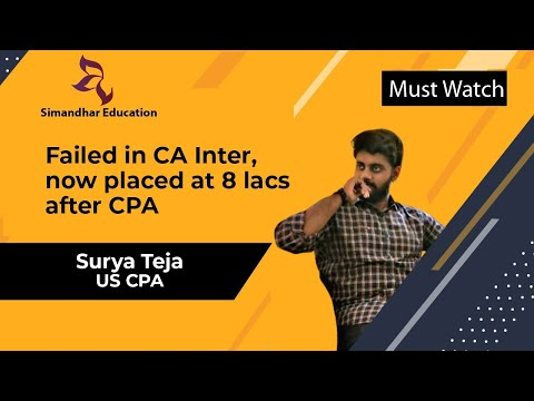 Failed in CA Inter, now placed at 8 lacs after CPA | Surya Teja Simandhar CPA alumni