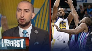 Nick Wright reacts to Kevin Durant's triple-double against the Hornets | FIRST THINGS FIRST