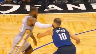 LeBron James PUNCHES Evan Fournier in the Face & Checks on Him! Cavaliers vs Magic February 6, 2018