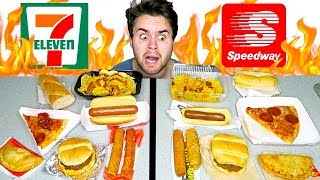 7-ELEVEN vs. SPEEDWAY! - The Whole Menu! Fast Food Taste Test