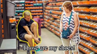 Trying on People's Shoes in a Shoe Store