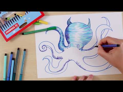 How to draw an octopus (STABILO Tutorials, intermediate)