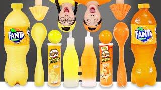 Yellow Food VS Orange Food Challenge 노란색 주황색 음식 챌린지 DONA 도나