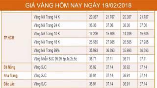GIÁ VÀNG HÔM NAY NGÀY 19/02/2018 - Vàng SJC  - PNJ - DOJI - Vàng GOLD - vàng thế giới -vàng 9999