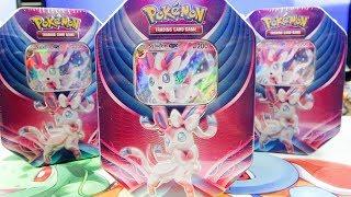 Opening 4x Sylveon GX Evolution Celebration Pokemon Tins