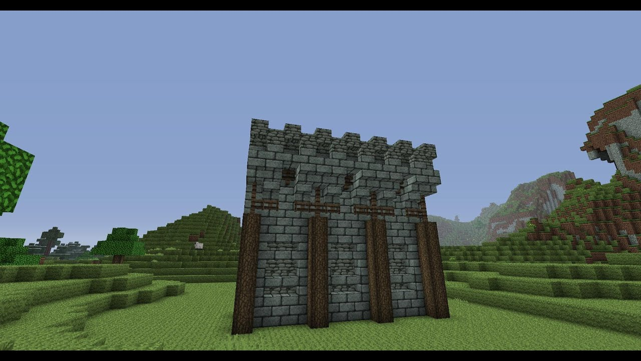 Minecraft - Medieval wall design - YouTube