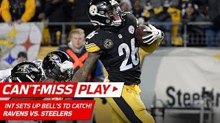 Sean Davis' INT Off Flacco Sets Up Le'Veon Bell's TD Catch! | Can't-Miss Play | NFL Wk 14