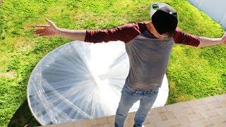 100 Layers Saran Wrap Trampoline LEAP OF FAITH!