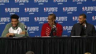 Giannis, Middleton & Hill Postgame Interview - Game 3 | Bucks vs Celtics | 2019 NBA Playoffs