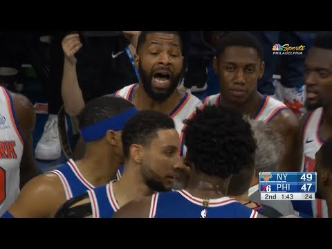 Marcus Morris shoves Joel Embiid to the ground | Sixers vs Knicks