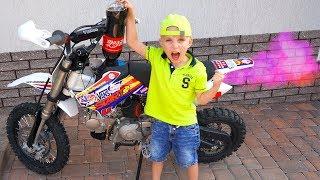Заправил ПитБАЙК брата...Tucked my brother's pitbike!!!