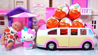 Pink Camping Car and Baby doll toys picnic play Hello Kitty Surprise Kinder Joy