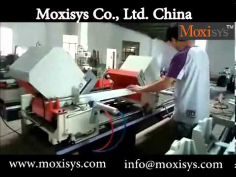 upvc window processing double head cutting saw